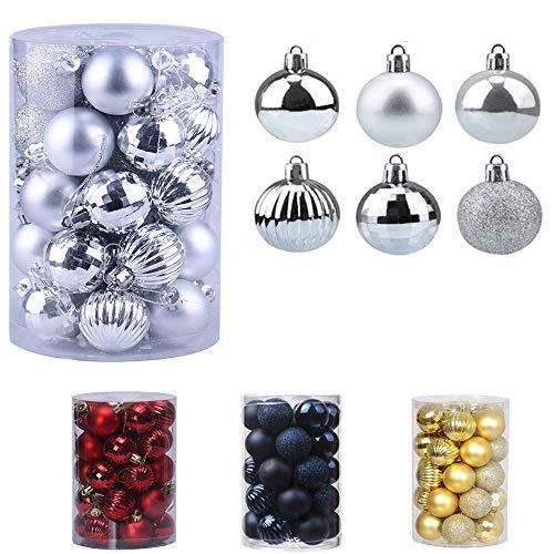 Bolas de Navidad 34 Piezas Bolas para árbol de Navidad Adornos Pared Colgante de Inastillable Decoraciones �rbol Bolas Decorativas Boda de Fiesta Hogar decoración para Vacaciones Ø4-6cm (Plata, 4CM)