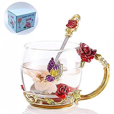 Flower Enamel Tea Cup, WRANKO Red Rose Glass Tea Cup Mug with Spoon, Handmade Leed-Free Enamel Teacups with Handle, Coffee Drinking Mugs Festival Gift Ideas Gift Set for Wedding (11oz, 1 Pack)