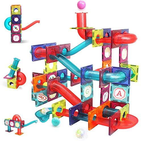 LUKAT Magnetic Tiles, 125 Piece Pipe Magnetic Blocks for Toddlers, 3D Magnets Toys, STEM Toy Children Magnetic Tiles Building Set Gift for Kids Boys...