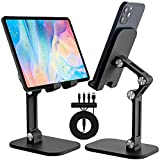 Adjustable Cell Phone Stand , 5A 3 in 1 Super Fast Multi Charging Cable ,Cable Organizer ,CVIDA Angle Height Adjustable Cell Phone Stand for Desk (Black)
