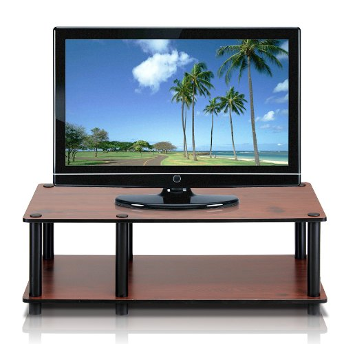 Furinno Just No Tools Dark Cherry Mid Television Stand with Black Tube