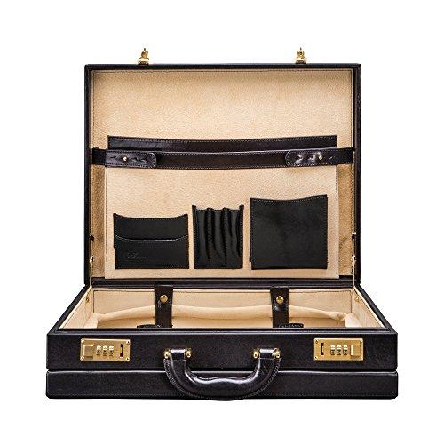 Maxwell Scott Mens Leather Business Attache Case Strada Black