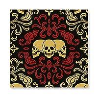 ドクロ スカル柄 Skull 木製 額縁 フォトフレーム 壁掛け 木製 横縦兼用 絵を含む 40×40cm