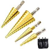 Nahuaa 4 Pièces Foret Fraise Meche Etage HSS Inox Metal 3-13/4-12/4-20/4-32mm Foret...