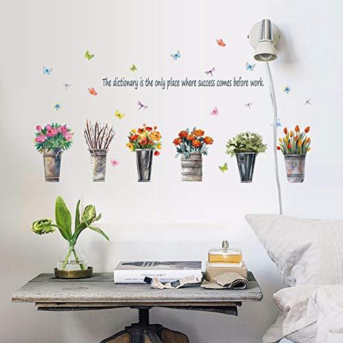 Runinsticker muurstickers, emmer van ijzer, vintage, Europese bloemen, muurstickers, raamdecoratie