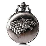 Juego de Tronos paja familia escudo invierno es venir Vintage reloj de bolsillo collar direwolf patrón cuarzo reloj de bolsillo antiguo reloj de bolsillo Bithday Chrismas regalo