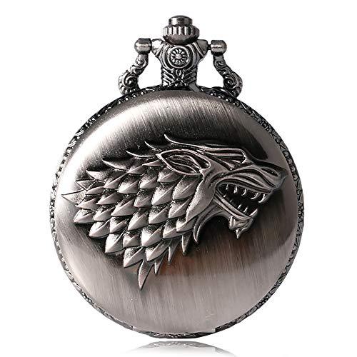 Game of Thrones Winter is Coming Herren Taschenuhr Halskette Wolf Muster Quarz Taschenuhren Antike Uhr für Bithday Weihnachten Geschenk