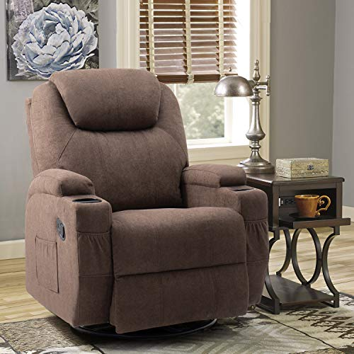 Tuoze Fabric Massage Recliner Chair Ergonomic 360 Degree Swivel Single Sofa with 2 Cup Holders Living Room with Heated Function Chair (Brown)