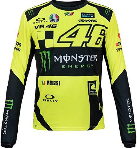 Valentino Rossi Momts316028001, Langarmhemd, VR 46 Monster Dual Lines Man, Gelb / Schwarz, L L 110 cm / 43 Zoll Brustumfang