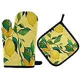 TropicalLife ADMustwin - Juego de guantes de horno y soporte para ollas con forro de algodón para colgar, juego de 2 piezas