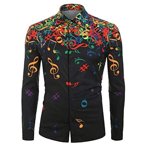Watkings 2019 Hombres Nueva Camisa, Blusa Superior de Camisa de patrón de Nota Musical de Novedad Casual, Blusa de Camisa de impresión Salvaje de Moda para Fiesta