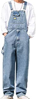 huateng Men's Wide-Leg Jumpsuit Fashion Trend Multi-Pocket Dungarees Strap Trousers