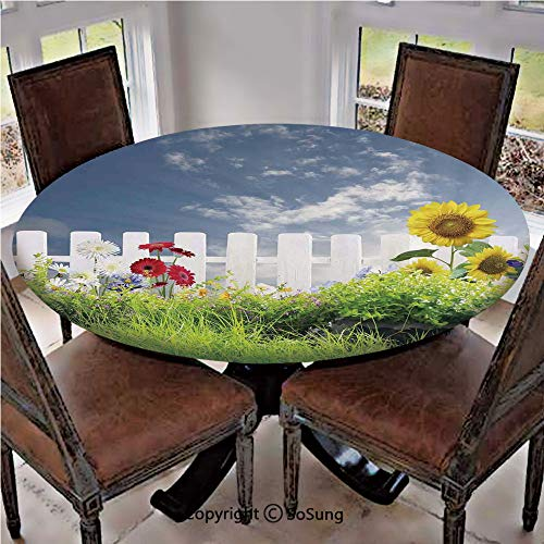 """Elastic Edged Polyester Fitted Table Cover,Grass Foliage Field with Sunflowers Daisy Hedge Fence Yard Jardin,Fits up 40""""-44"""" Diameter Tables,The Ultimate Protection for Your Table,White Green Blue"""
