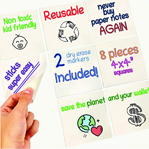 """8 Reusable Dry Erase Sticky Notes. 4x4"""" Whiteboard Stickers+2 Magnetic Markers. Eco Friendly, Reusable, Removable, Washable Non-Adhesive Mini Paper Notes. for Home and Office"""