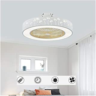 Ceiling-Fan with Lights and Remote-Control, Contemporary Ceiling Dimmable 40W LED Light Kit Remote Invisible Fan for Livin...