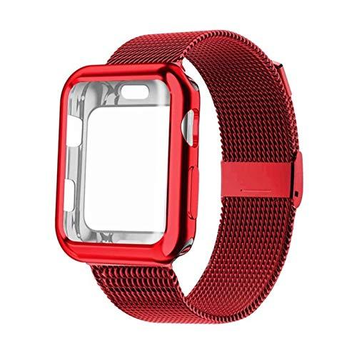 JJBFAC Banda con el Caso de Reloj for la Serie de Apple 5/4/3/2 38 mm 42 mm 40 mm 44 mm Correa de Acero Inoxidable de la Pulsera for IWATCH (Band Color : Red, Band Width : 44mm)