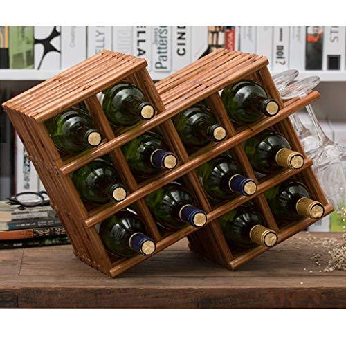 Scaldabagno in Legno da Appoggio for Il Vino 12 Bottiglie di Serbatoi di Stoccaggio Superiore 3 Bicchieri Porta Bicchieri Appesi.