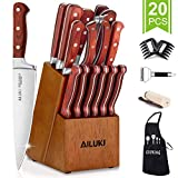Knife Set, AILUKI 20 - Piece Kitchen Knife Set with Block Wooden and Sharpener, German High Carbon Stainless Steel Chef Knife Set, Pakkawood Ultra Sharp Full Tang Forged Knife Block Set