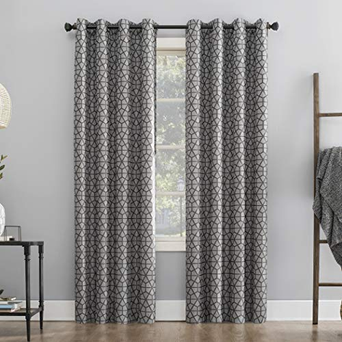 """Sun Zero Verve Twill Mosaic Thermal Extreme 100% Blackout Grommet Curtain Panel, 52"""" x 84"""", Charcoal/Gray"""