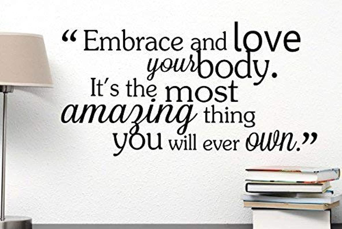 LilithCroft99 Embrace and Love Your Body It's The Most Amazing Thing You Will Ever Own Cute Spa Inspirational Quote Art Saying Lettering Motivational Gym Sticker Stencil Wall Decor Art