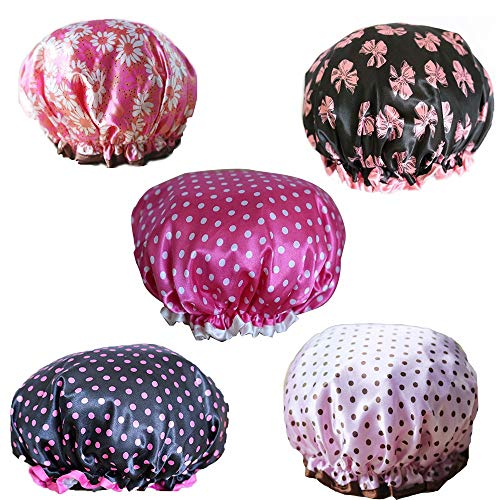 Lot de 5 bonnets de douche imperméables élastiques à double couche pour femme