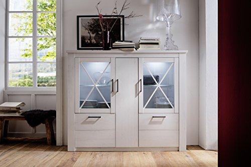 trendteam smart living Wohnzimmer Highboard Schrank Georgia, 171 x 142 x 38 cm in Pinie Weiß Struktur Dekor im Landhausstil