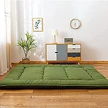 Green Japanese Shiki Futon Mattress Floor Mattress, Roll Up Guest Mattress Floor Bed Folding Portable Camping Mattress Thicken Mattress Pad Sleeping Pad for Guest Room Twin Size