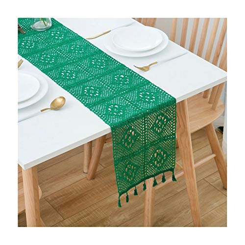 ANAZOZ 9 x 95 Inches Rustic Dining Table Runner Cotton Linen Table Runner Hollow Out Lace Flowers Green Runner for Bar Table