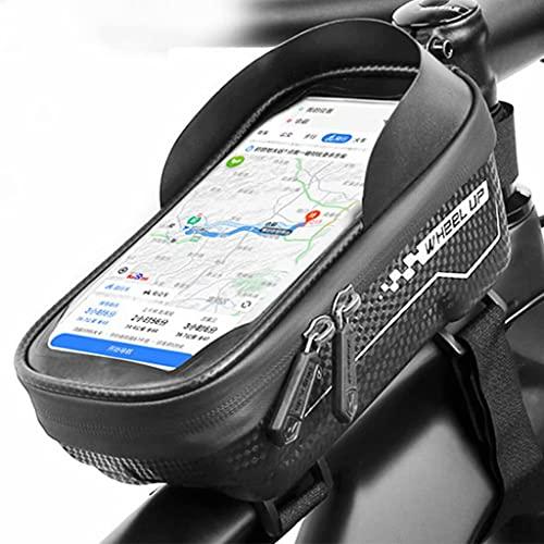 YZX Bolsa Bicicletas, Bicicletas de montaña Hard Shell Impermeable Pantalla táctil del teléfono Tubo Superior de la Bolsa, Aire Libre portátil Frente Ciclismo Haz Bolsa de sillín,19×10×10.5cm
