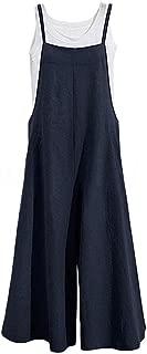 TOP-MAX Women's Jumpsuits, Casual Long Rompers Wide Leg Baggy Bibs Overalls Harem Pants - Plus Cotton Linen Jumpsuits Black