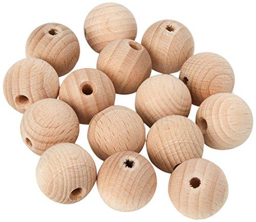 Holz-Perlen Natur 20 mm, 15 Stück, Efco