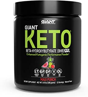 Giant Keto Exogenous Ketone Supplement - Beta-Hydroxybutyrate BHB Powder Formula Designed to Support Your Ketogenic Diet, Maui Punch - 15 Servings