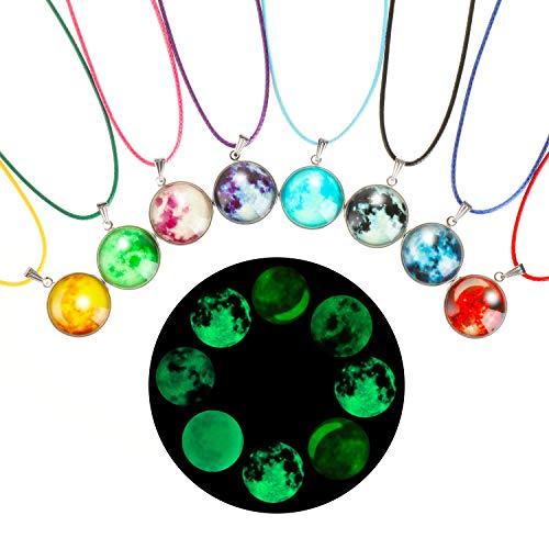 Hifot Glowing Halskette Galaxie Anhänger Halskette 8 Stücke, mond Halskette Kette schmuck Kinder mädchen Junge Partyzubehör Gastgeschenke Taschen Füller Mitgebsel Geschenk