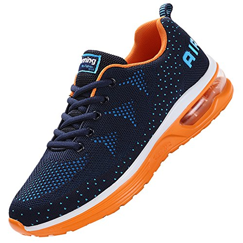 JARLIF Men's Lightweight Athletic Running Shoes Breathable Sport Air Fitness Gym Jogging Sneakers (Size 8.5, BlueOrange)