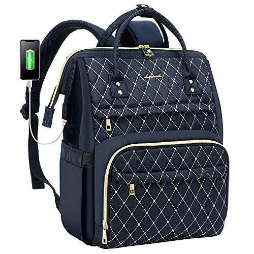 LOVEVOOK Laptop Rucksack Damen elegant mit Laptopfach 15,6 Zoll, Rucksack Tasche Damen wasserdicht, Rucksack mädchen Teenager klein mit USB Ladeanschluss, Dunkelblau