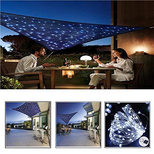 CHUDAN Garten Sonnensegel LED Lichter, 2x3m Balkon und Terrasse Sonnenschutz, PES Polyester Windschutz Wetterschutz Wasserabweisend Imprägniert 95% UV Schutz (Blau),2 * 3m