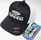 Flexfit Fitted Ford Powerstroke Trucker Ball Cap hat Diesel Truck Gear Flex fit White Black mesh