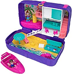 Polly pocket hidden places beach vibes backpack opens to reveal a larger beach-themed polly world Great to take on-the-go for beachy keen play anytime, anywhere Comes with polly and shani dolls and opens to a beach house and sand-and-sun beach scene ...