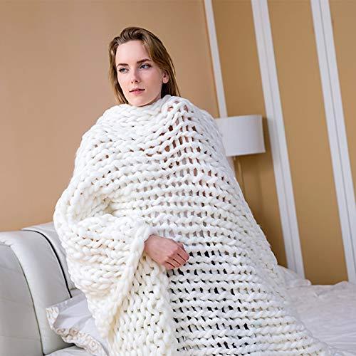 Ledph Manta de Punto Gruesa, Tiro de Punto Hecho a Mano Suave, 6 cm Manta de Tiro de Punto Grande, decoración de sofá Cama con Manta Tejida,Blanco,100 * 100 CM