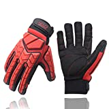 Mechanikerhandschuh, Premium Padded Rigger Handschuh, Anti-Vibrations-, Anti-Abrieb-, Impact-Handschuhe (XL, Black and Red)