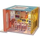 QLPXY Casa De Muñecas De Madera DIY Kit En Miniatura Hecho A Mano: Habitación De Luz LED Creativa De Madera para Niños Y Adolescentes (B)