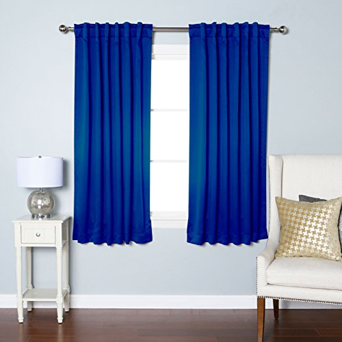 """Best Home Fashion Premium Blackout Curtain Panels - Solid Thermal Insulated Window Treatment Blackout for Bedroom - Back Tab & Rod Pocket – Royal.Blue - 52"""" W x 63"""" L - (Set of 2 Panels)"""