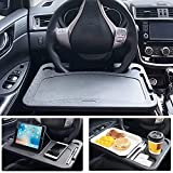 MINI-FACTORY Car Steering Wheel Tray Desk Eating Table for Food Drink Notebook Laptop - Black