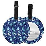 Blue Space Cat - Juego de etiquetas para maleta de piel personalizada, accesorios de viaje, etiquetas redondas para equipaje Negro Negro 4 PCS