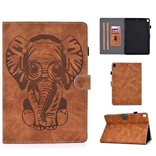 Folio Case for iPad Air 3rd Gen 10.5' 2019 iPad Pro 10.5' 2018 Cover Slim Fit Multi Angle Stand Smart Shell Auto Sleep Wake Protective Wallet Case with Pencil Holder (Elephant Brown)