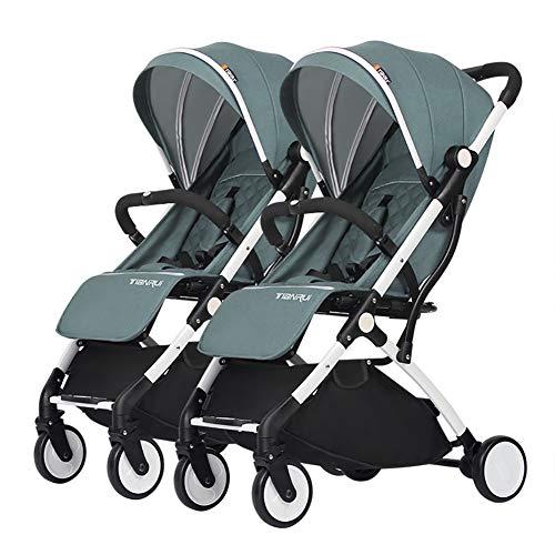 Poussetter Yhz@ Double Chariot bébé, jumelle, Enfant détachable, Chariot portatif léger d'alliage d'aluminium de Chariot portatif léger de Chariot (Couleur : Indigo)