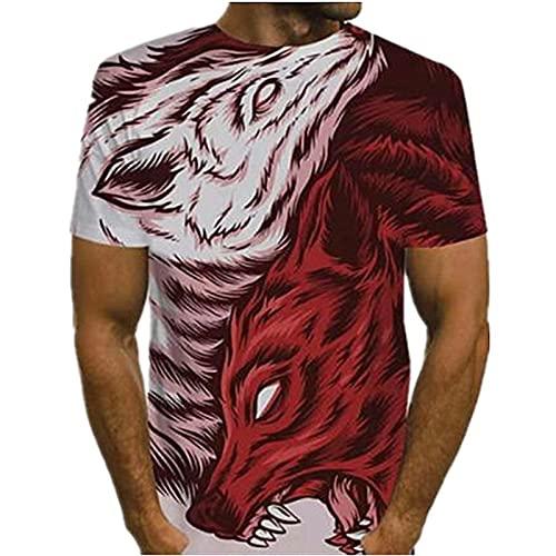 XDJSD Camisetas Polo De Hombre, Camisetas Cortas, Camisetas De Hombre De Manga Corta, Camisetas De Hombre con Solapa, Camisetas De Manga Corta con Cabeza De Lobo Feroz, Camisetas Deportivas con Fondo
