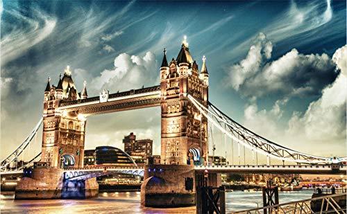 WPHRL Rompecabezas 500 Piezas Adultos De Madera Niño Puzzle Vista Nocturna del Puente de Londres, Reino Unido Juego Casual De Arte DIY Juguetes Regalo Interesantes Amigo Familiar Adecuado