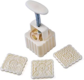 VOVOV 2 Set 6pcs Mooncake Mold - Square Hand Press Cookie Stamps 100G, DIY Baking Moon Cake Stamps,Bath Soap Mold - Adjustable Thickness