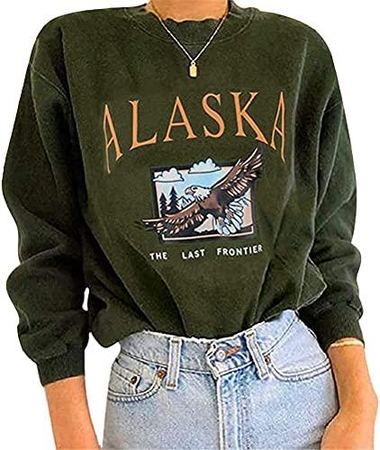 Yesgirl Kapuzenpullover Für Damen Alaska Letter Print Sweatshirt Lose Casual Langarm Hip Hop Hoher Rundhals Reißverschluss Adler Grafik Top Farbanpassung Hoodie (S, B Grün)